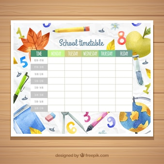 Plantilla de horario escolar con materiales en acuarela