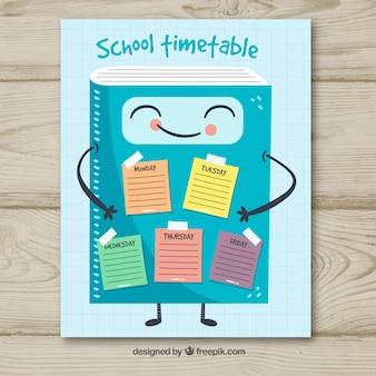 Plantilla de horario escolar en estilo hecho a mano