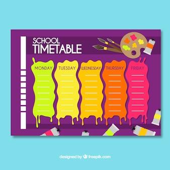 Plantilla de horario escolar en estilo plano