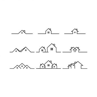 Plantilla de icono de logotipo de casa de línea mono línea