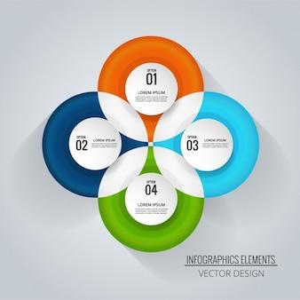 Plantilla de infografía con cuatro opciones circulares
