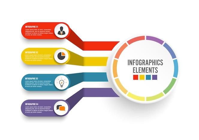 Plantilla de infografía con etiqueta de papel 3d. concepto de negocio con 4 opciones.