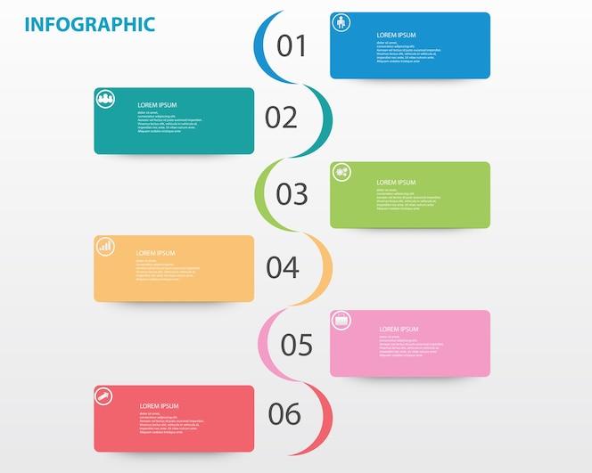 Plantilla de infografía con números seis opción
