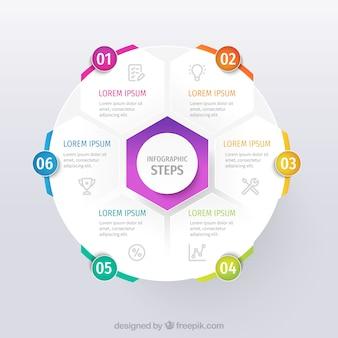 Plantilla de infografía empresarial con formas coloridas