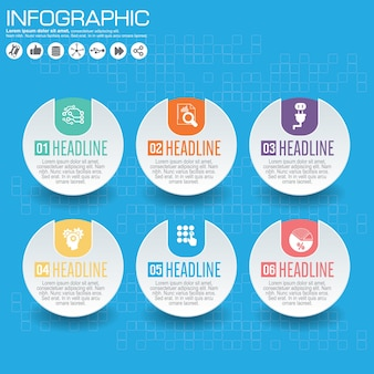 Plantilla de infografía y opciones con iconos planos para presentación.