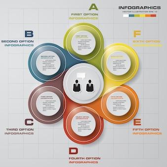 Plantilla de infografías de negocios de presentación moderna 6 opciones