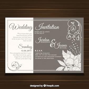 Plantilla de invitación de boda con estilo vintage