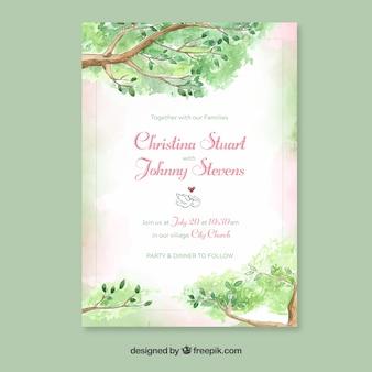 Plantilla de invitación de boda en acuarela con estilo floral