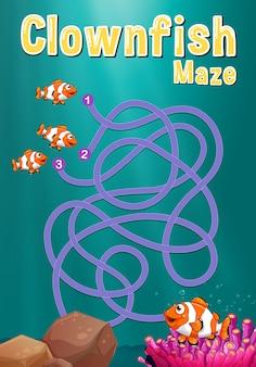 Plantilla de juego con clownfish y arrecife de coral