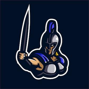 Plantilla de logotipo de mascota de esparta esport gaming