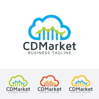 Plantilla de logotipo de vector de marketing en la nube