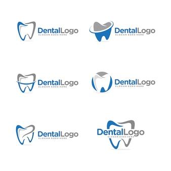 Plantilla de logotipo dental conjunto