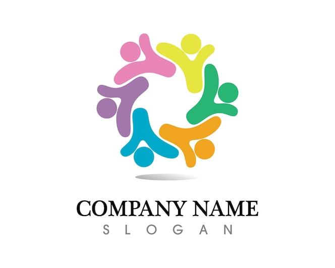 Plantilla de logotipo y símbolos de cuidado de personas de la comunidad