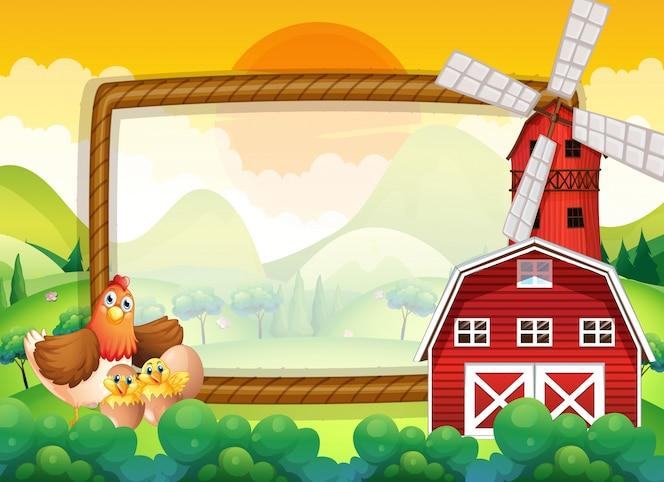 Plantilla de marco con pollos en la granja