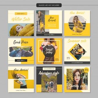 Plantilla de mensaje de medios sociales de moda amarilla