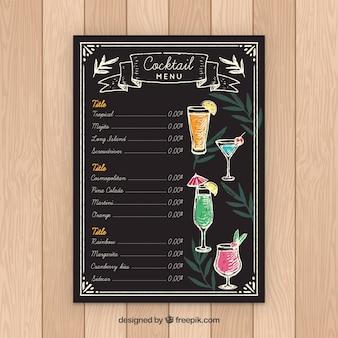 Plantilla de menú de cócteles en estilo de pizarra