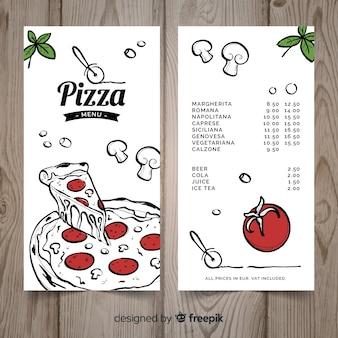 Plantilla de menú de pizzería dibujado a mano