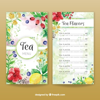 Plantilla de menú de té en acuarela