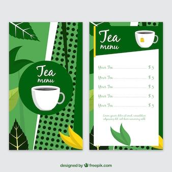 Plantilla de menú de té en estilo plano