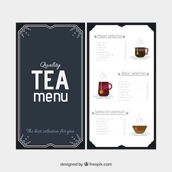 Plantilla de menú de tés con diseño plano