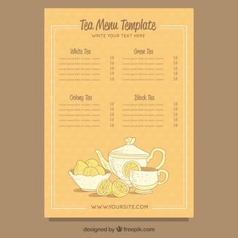 Plantilla de menú de tés dibujada a mano