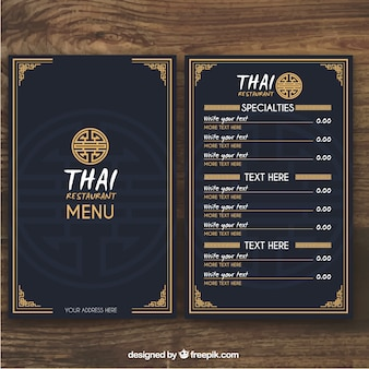 Plantilla de menú tailandés