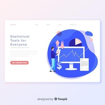 Plantilla de página de aterrizaje de herramientas estadísticas