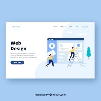 Plantilla de página de destino con concepto de diseño web