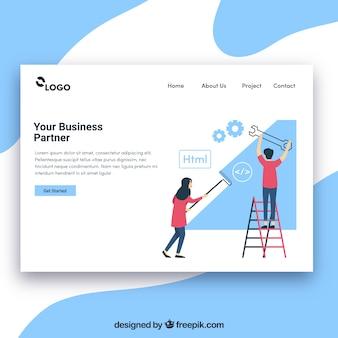 Plantilla de página de destino con concepto de negocios