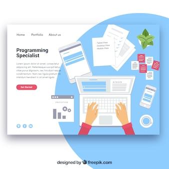 Plantilla de página de destino con concepto de programar