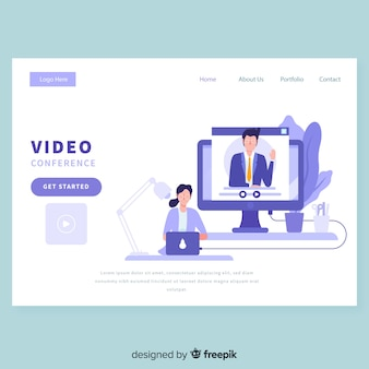 Plantilla de página de destino de la videoconferencia