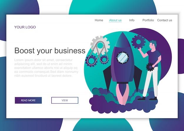 Plantilla de página de destino para impulsar el negocio