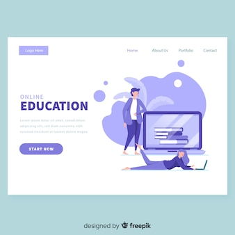 Plantilla de página de inicio de educación en línea