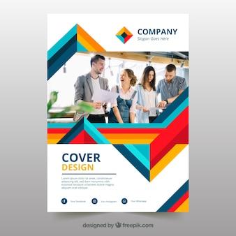 Plantilla de portada abstracta de negocios con foto