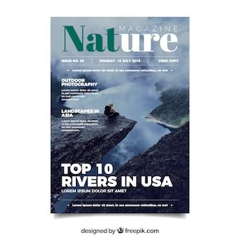 Plantilla de portada de revista de naturaleza con foto