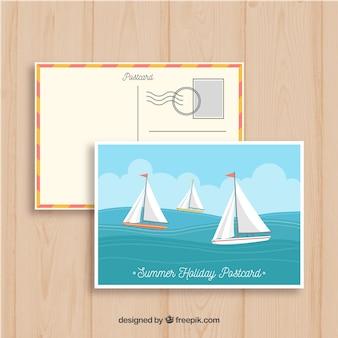 Plantilla de postal de verano dibujada a mano con barcas de vela