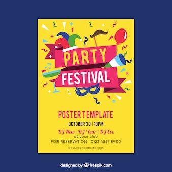 Plantilla de póster de fiesta con diseño plano