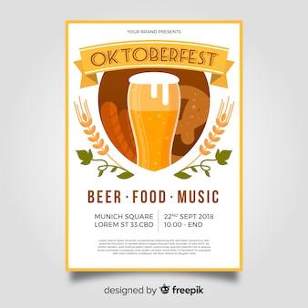Plantilla de póster del oktoberfest con diseño plano