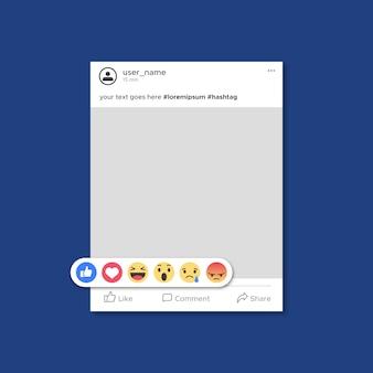 Plantilla de publicación de facebook con emoticones