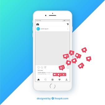 Plantilla de publicación de instagram con notificaciones