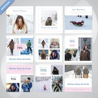 Plantilla de publicación de medios sociales de invierno de la moda