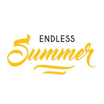 Plantilla de publicidad estacional de verano sin fin. texto escrito y caligráfico puede ser usado para saludar