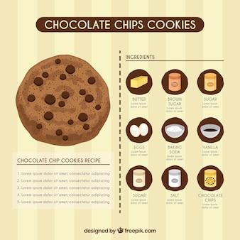 Plantilla de receta de galletas con virutas de chocolate