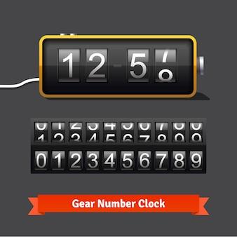 Plantilla de reloj de engranajes y contador de números