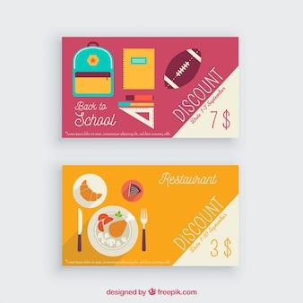 Plantilla de tarjeta de cliente de restaurante y material escolar