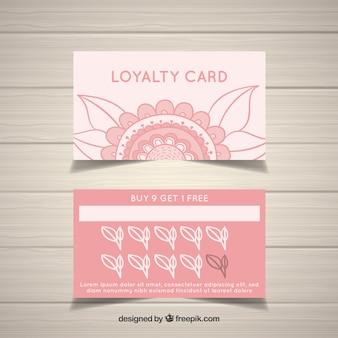 Plantilla de tarjeta de cliente floral dibujada a mano