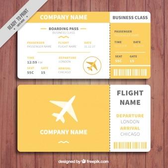 Plantilla de tarjeta de embarque blanca y naranja