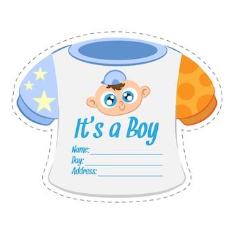 Plantilla de tarjeta de invitación de ducha de niño de ropa de bebé