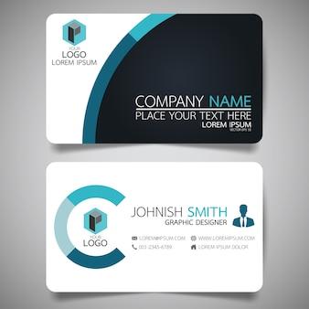 Plantilla de tarjeta de presentación azul y negro.