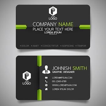 Plantilla de tarjeta de presentación verde y negro.